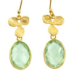 10.75cts natural green amethyst 925 silver 14k gold dangle earrings r38501
