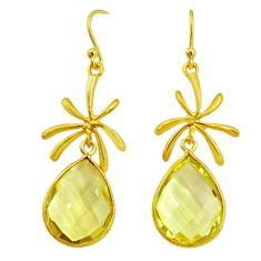 17.35cts natural green amethyst 14k gold handmade dangle earrings t11410