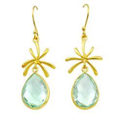 15.34cts natural green amethyst handmade14k gold dangle earrings t16553