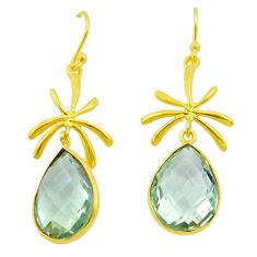 14.23cts natural green amethyst 925 silver 14k gold dangle earrings t44112