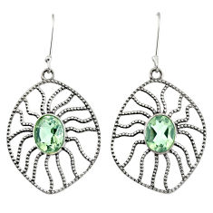 Clearance Sale- 6.26cts natural green amethyst 925 sterling silver dangle earrings d40116