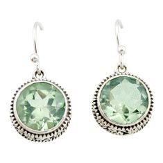 8.76cts natural green amethyst 925 sterling silver dangle earrings r21823