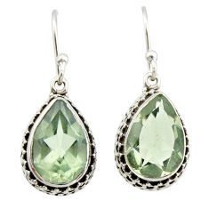 7.78cts natural green amethyst 925 sterling silver dangle earrings r21825