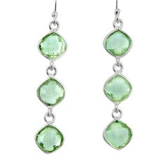 11.08cts natural green amethyst 925 sterling silver dangle earrings r33525