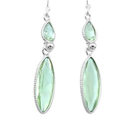 13.66cts natural green amethyst 925 sterling silver dangle earrings r73287