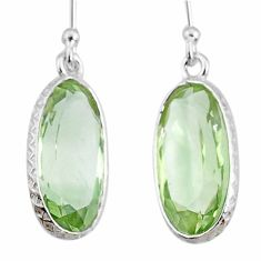 9.24cts natural green amethyst 925 sterling silver dangle earrings r75081