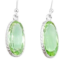 8.14cts natural green amethyst 925 sterling silver dangle earrings r75088