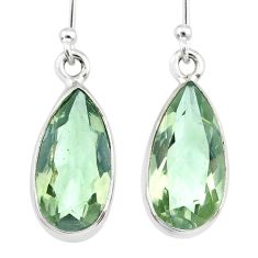 8.95cts natural green amethyst 925 sterling silver dangle earrings r83651