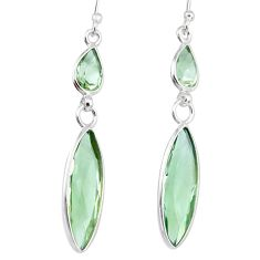 11.86cts natural green amethyst 925 sterling silver dangle earrings r83666