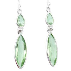 13.02cts natural green amethyst 925 sterling silver dangle earrings r83667