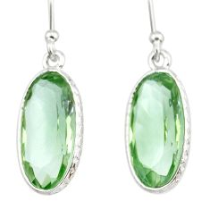 9.33cts natural green amethyst 925 sterling silver dangle earrings r83669