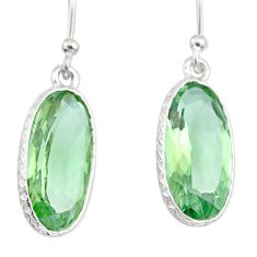 9.27cts natural green amethyst 925 sterling silver dangle earrings r83670