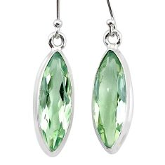 12.68cts natural green amethyst 925 sterling silver dangle earrings t23762