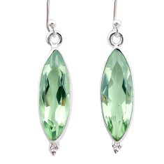 13.15cts natural green amethyst 925 sterling silver dangle earrings t23766