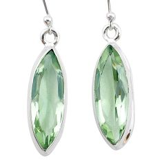 11.74cts natural green amethyst 925 sterling silver dangle earrings t23767