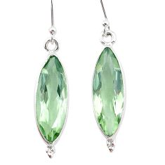 12.65cts natural green amethyst 925 sterling silver dangle earrings t23769