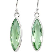 12.67cts natural green amethyst 925 sterling silver dangle earrings t23771