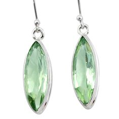 12.07cts natural green amethyst 925 sterling silver dangle earrings t23774