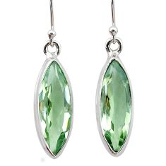 12.70cts natural green amethyst 925 sterling silver dangle earrings t23776
