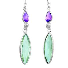 12.29cts natural green amethyst amethyst 925 silver dangle earrings r73275