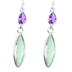 11.86cts natural green amethyst purple amethyst 925 silver dangle earring r83661