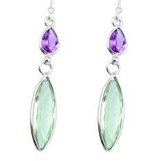 12.29cts natural green amethyst purple amethyst 925 silver dangle earring r83662