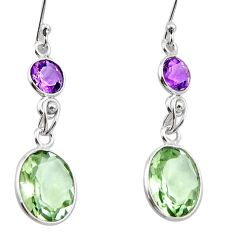 9.22cts natural green amethyst amethyst 925 sterling silver earrings r26593