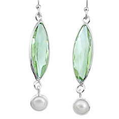 10.58cts natural green amethyst pearl 925 sterling silver dangle earrings r73293