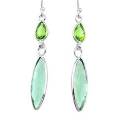 12.99cts natural green amethyst peridot 925 silver dangle earrings r73268