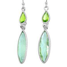 12.93cts natural green amethyst peridot 925 silver dangle earrings r73283