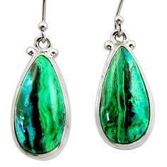 14.67cts natural green azurite malachite 925 silver dangle earrings r34742