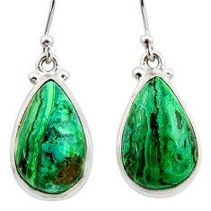 14.19cts natural green azurite malachite 925 silver dangle earrings r34745