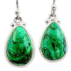 12.96cts natural green azurite malachite 925 silver dangle earrings r34748