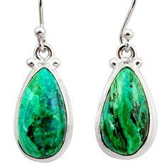 12.41cts natural green azurite malachite 925 silver dangle earrings r34752