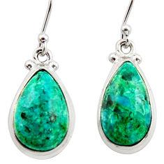 12.08cts natural green azurite malachite 925 silver dangle earrings r34753