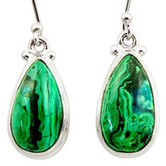 11.07cts natural green azurite malachite 925 silver dangle earrings r34756
