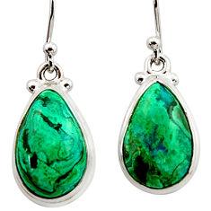 12.91cts natural green azurite malachite 925 silver dangle earrings r34757
