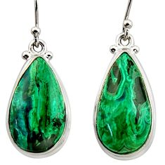 15.47cts natural green azurite malachite 925 silver dangle earrings r34759