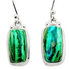 12.96cts natural green azurite malachite 925 silver dangle earrings r34762