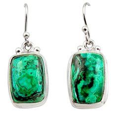 13.77cts natural green azurite malachite 925 silver dangle earrings r34766