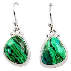 12.52cts natural green azurite malachite 925 silver dangle earrings r34767