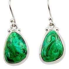 13.84cts natural green azurite malachite 925 silver dangle earrings r34769