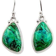 13.24cts natural green azurite malachite 925 silver dangle earrings r34770