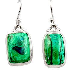 13.84cts natural green azurite malachite 925 silver dangle earrings r34772