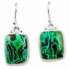 16.92cts natural green azurite malachite 925 silver dangle earrings r34773