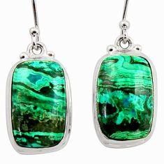15.05cts natural green azurite malachite 925 silver dangle earrings r34777