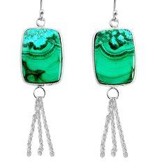 19.73cts natural green azurite malachite 925 silver dangle earrings r75672