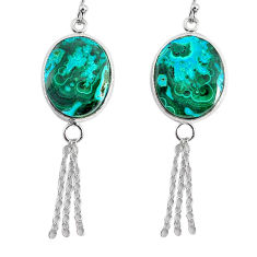 17.35cts natural green azurite malachite 925 silver dangle earrings r75673