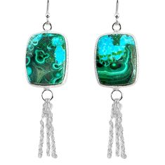 14.73cts natural green azurite malachite 925 silver dangle earrings r75675