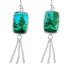 17.96cts natural green azurite malachite 925 silver dangle earrings r75676